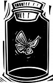 Woodcut style expressionist image of a butterfly in a killing jar. poster