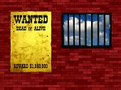 Latticed prison window, clear sky beyond. Vintage Wanted poster on the wall poster