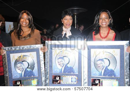 Timolin Cole, Natalie Cole and Casey Cole  at the Capitol Records' Rooftop Christmas Tree  Lighting, Capital Records, Hollywood, CA. 11-19-09