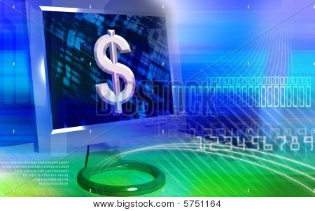 dollar sign on computer screen