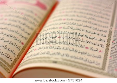 Holy Koran Page Selective Focus On