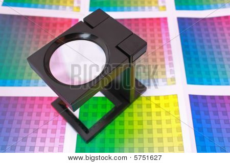 Magnifying Glass On Color Guide. Color Selection Pre-press Concept