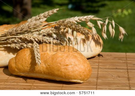 Still life with bread and wheat stalks, food, vitamine poster