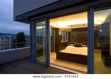 contemporary loft - terrace by night