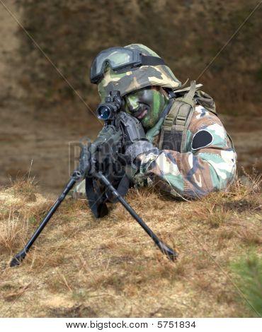 Sniper In Foxhole; Air Soft Gun battle