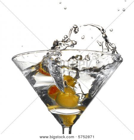 Splash caused by plunging an olive into a martini poster
