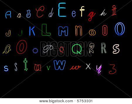 neon alphabet collection