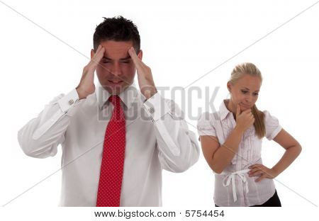 A Team Of Stressed Businesspeople Looking Upset team is isolated