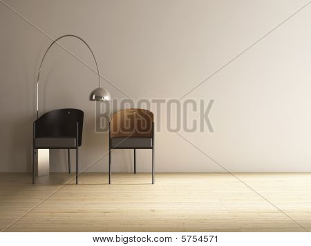 Chairs on a blank wall