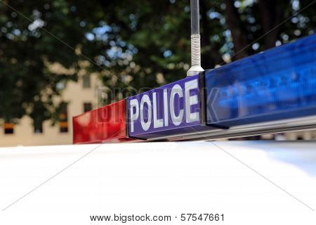 Sign of a Police Car in Tasmania. Australia poster