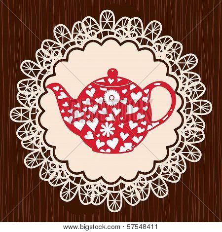 Retro Heart Teapot On Lace Napkin