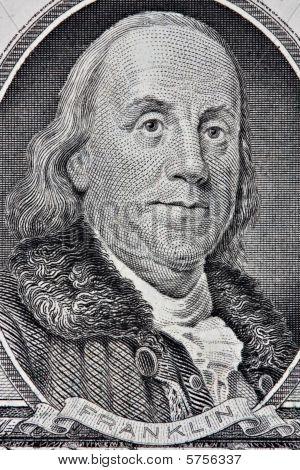 Portait Of Benjamin Franklin From The One Hundred Dollar Bill.