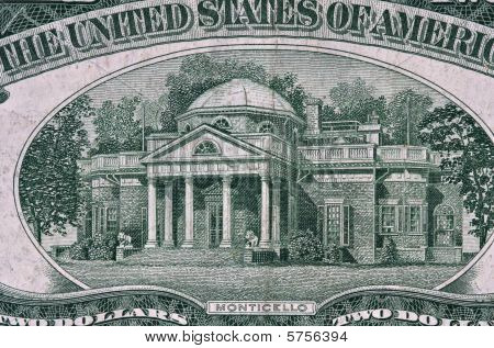 Monticello From 1953 Two Dollar Bill.