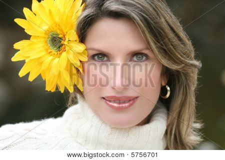 Yellow Flower - Gorgeous Woman With Yellow Flower In Her Hair