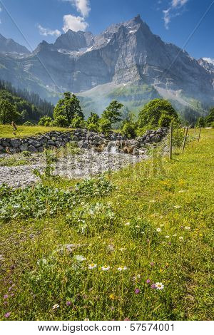 Image of alps in Austria in Hinterriss Eng in Summer poster