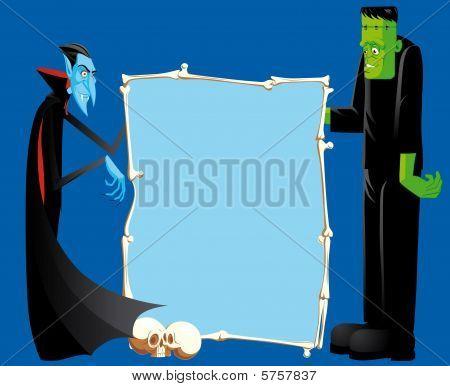 Dracula And Frankenstein With Bones Frame