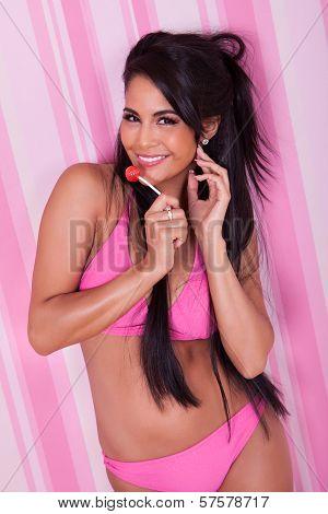 Sexy Woman Sucking A Lollipop
