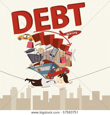 Living with debt. Businessman Life. Vector
