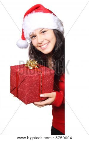 Cute Santa with Christmas gift