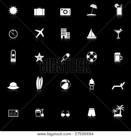 Summer Icons With Reflect On Black Background