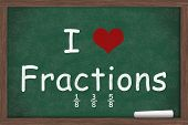 I love Fractions I heart fractions with examples written on a chalkboard with a piece of white chalk poster