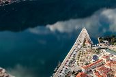View of Bay of Kotor old town from Lovcen mountain. Montenegro. Kotor is part of the unesco. poster