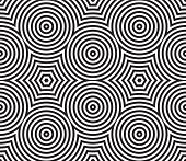 Black and White Psychedelic Circular Textile Patterns ??? Seamless Background poster