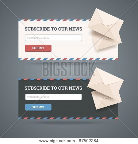 Subscribe To Newsletter Form For Web And Mobile Applications In Two Flat Styles With Envelopes.