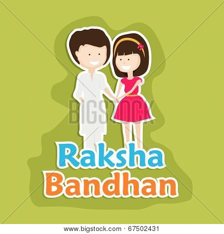 Beautiful greeting card design for the Raksha Bandhan festival with cute little girl tying rakhi on his brother wrist on green background.