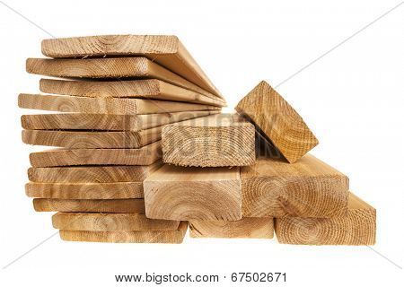 Various sizes of wooden cedar boards isolated on white background poster