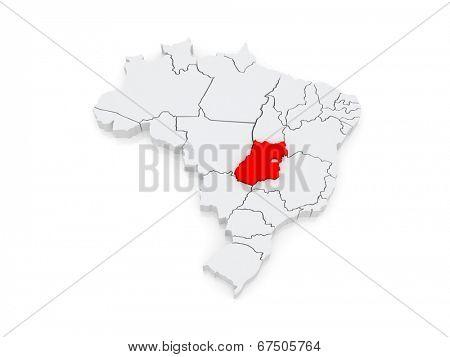 Map of Goias. Brazil. 3d