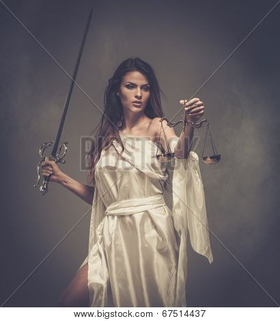 Femida, Goddess of Justice, with scales and sword