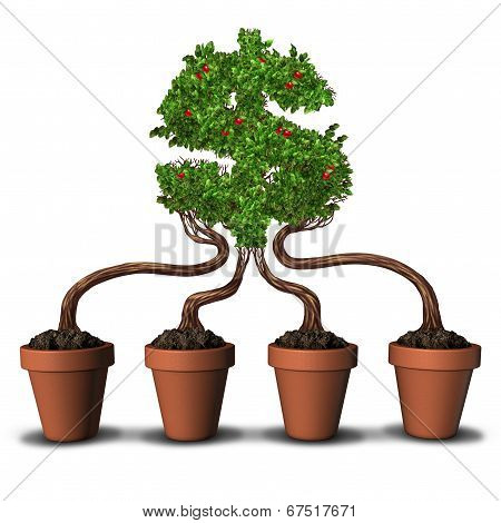 Team investing and group Investment business concept as four planting flower pots with trees growing together into the shape of a dollar or money symbol as a financial metaphor for building wealth through teamwork. poster