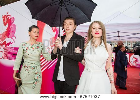 MOSCOW - JUNE, 28: Russian director V. G. Germanica, A. Gorchilin and A. Kuznetsova . 36st Moscow International Film Festival. Closing Ceremony at Rossiya Cinema . June 28, 2014 in Moscow, Russia