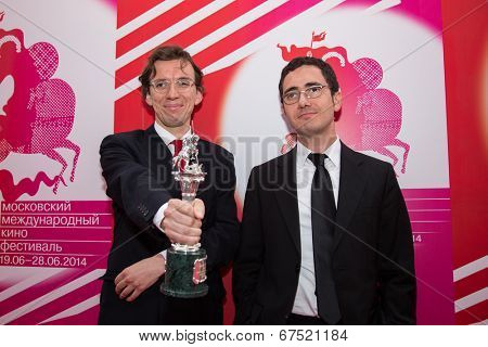 MOSCOW - JUNE, 28:Turkish director H. Kurtulish, actor M. Sarachiglu (Special jury prize). 36st Moscow International Film Festival. Closing Ceremony at Rossiya Cinema . June 28, 2014 in Moscow, Russia