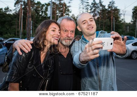 MOSCOW - JUNE, 14: American director Terry Gilliam with fans. Premiere of the movie The Zero Theorem at the Barvikha Village. June 14, 2014 in Moscow, Russia