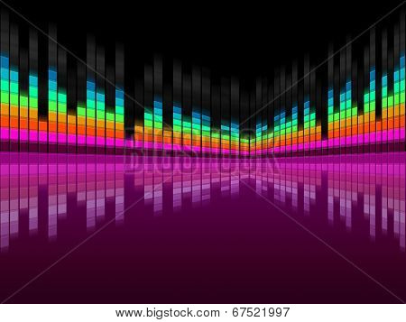 Purple Soundwaves Background Shows Dj Music And Songs.