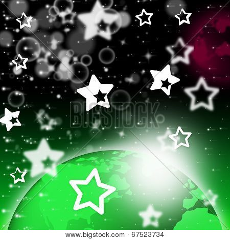 Green Planet Background Shows Stars And Celestial Bodies.