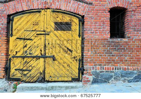 Old Yellow Wooden Gate