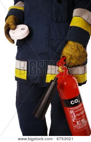 Firefighter with safety equipment