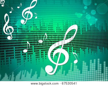 Treble Clef Background Meaning Sound Frequency Or Music Wave poster