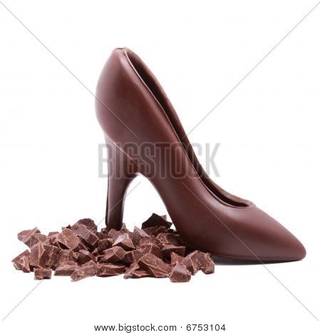 Chocolate Shoe And Chocolate Slices Isolated On White Background