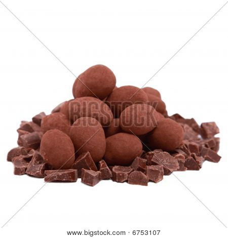 Chocolate Truffle And Slices Isolated On White Background