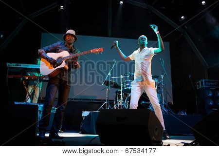 LOULE - JUNE 26: Debademba, traditional band from Mali, performs on stage at festival med, a world music festival, in Loule, Portugal, June 26, 2014