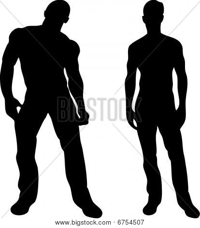 2 sexy men silhouettes on white background. Editable Vector Image poster