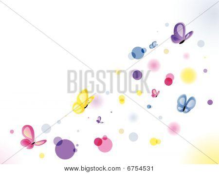Hermoso fondo de mariposas con círculos colores.