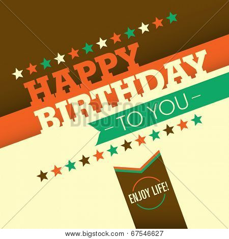 Illustrated birthday greeting card. Vector illustration.