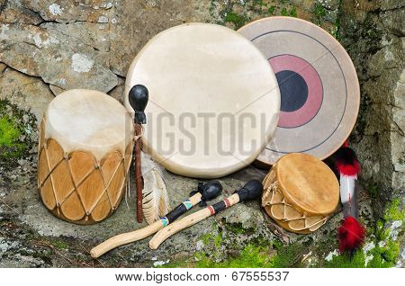 Group of four, Native American Drums.