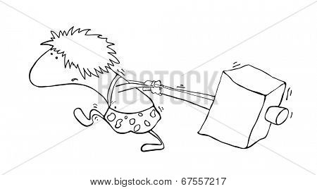 primitive man with a hammer, vector illustration