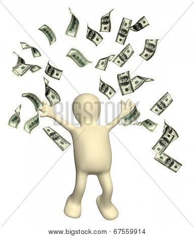 Happy puppet and a banknotes of dollars. Isolated on white background